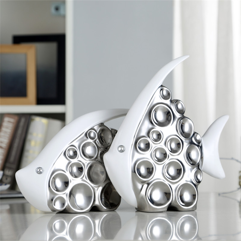 Plating Silver Bubble Kiss Fish Art Sculpture Animal Statue Ceramic Art&Craft Home Decoration L3270Plating Silver Bubble Kiss Fish Art Sculpture Animal Statue Ceramic Art&Craft Home Decoration L3270