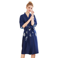 2019 Women Elegant Kimono Team Bride Bridesmaid Printed Robe Dress Faux Silk Satin Nightwear Femme Bathrobe Gift For Wife Daught