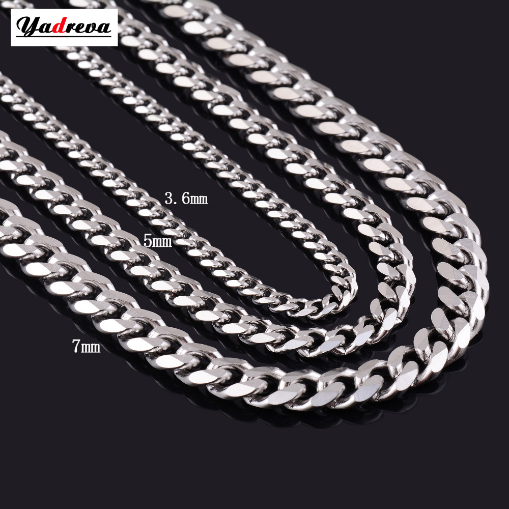 Never Fade 3.5mm/5mm/7mm Stainless Steel Cuban Chain Necklace Waterproof  Men Link Curb Chain Gift Jewelry Length Customized(China)