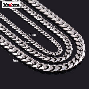 Necklace Waterproof Link Cuban-Chain Jewelry-Length Gift Fade Customized Stainless-Steel