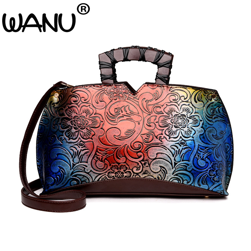 New Fashion Autumn Winter New Women Luxury Leather Handbags Embossed Flower Shoulder Bags Fashion Vintage Tote Top-handle Bag 2018 autumn and winter luxury women s