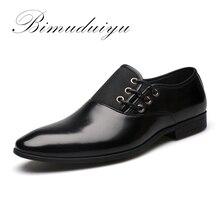 BIMUDUIYU Grande Taille 6.5-11.5 Nouveau Mode Hommes Robe Chaussures De Mariage Noir Chaussures Bout Rond Plat D'affaires Britannique Dentelle-up Hommes de chaussures