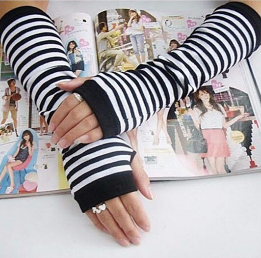 Hot High Quality Lady Stretchy Soft Arm Warmer Long Sleeve Fingerless Gloves Striped Free Shipping