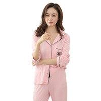 99cb08cd1 Women S Pajamas Sets Cotton Sleepwear Long Sleeve Modal Pajamas For Women  Spring Nightwear Home Clothes. Conjuntos de Pijama Algodão ...