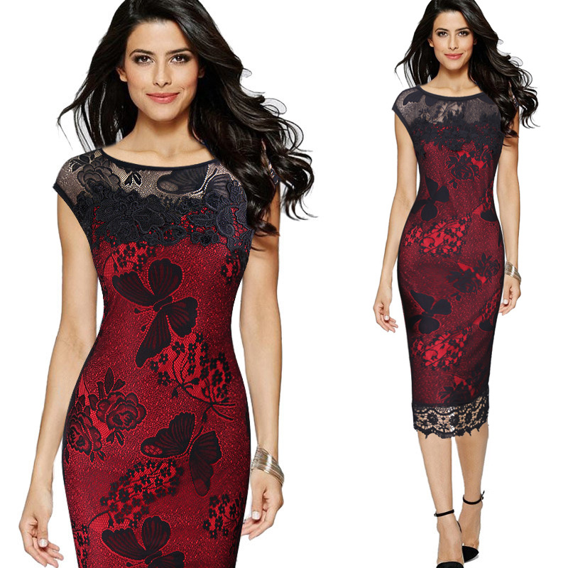 2018 Women Elegant Sexy Embroidered Lace See Through One Piece Dress Suit Party Special Occasion Pencil Sheath Embroidery Dress
