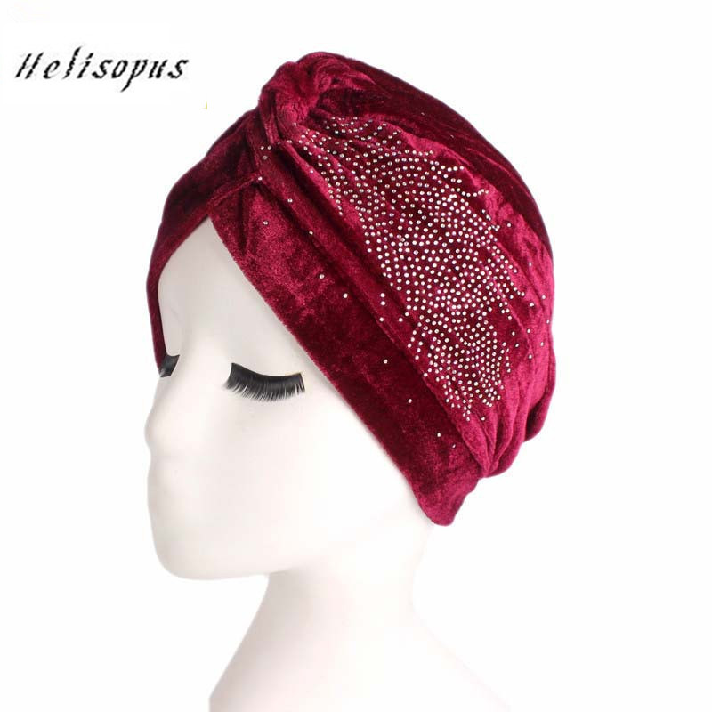 Helisopus New Women India Hat Lady Retro Turban Velvet Hat Ruffle Turban Chemo Headwrap Hijab Beanie   Headwear