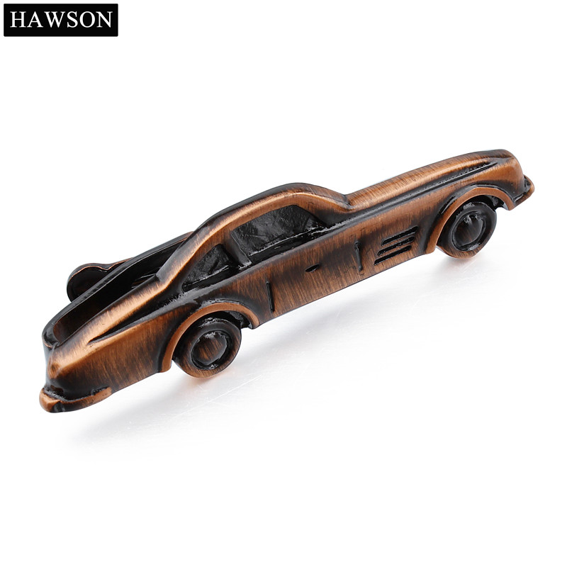 Red Bronze Car Pattern Tie Clips for Men Novelty Tie Bar Neck Tie Pin with Box