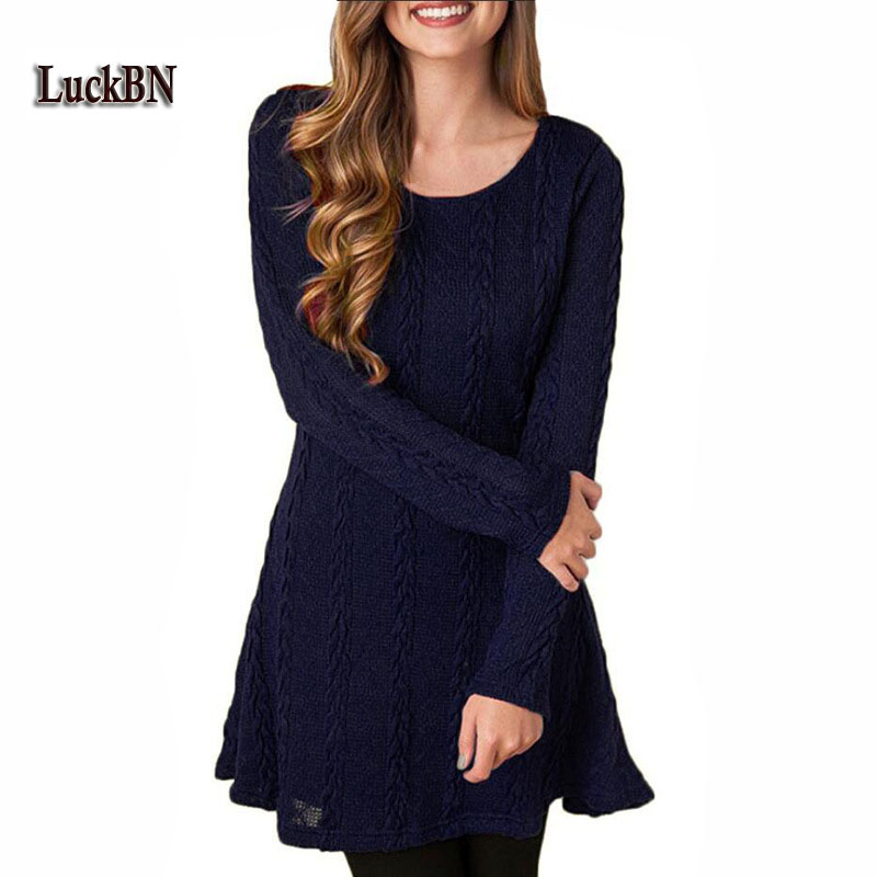 New 2018 Women Spring Autumn Fashion Knitted Dress Casual Long Sleeve Dresses Loose Mini Sweater Vestidos 5XL Plus Size Clothing