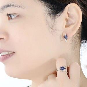 Image 5 - SANTUZZA gümüş takı seti kadın için benzersiz narin mavi lale çiçek CZ yüzük küpe seti 925 ayar gümüş moda takı