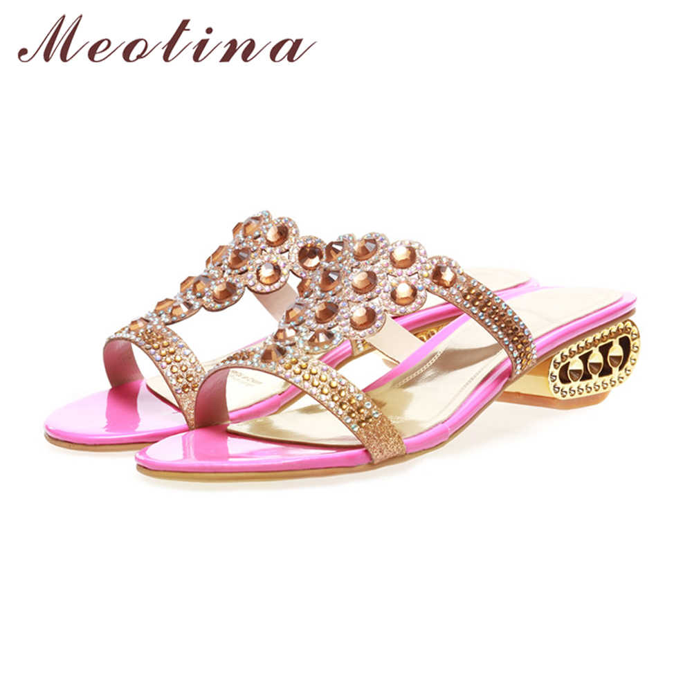 ... Meotina Women Shoes Summer Slides Party Square Chunky Med Heels Shoes  Women Rhinestone Slippers Triangle Slippers ... 6c0efbb60db1