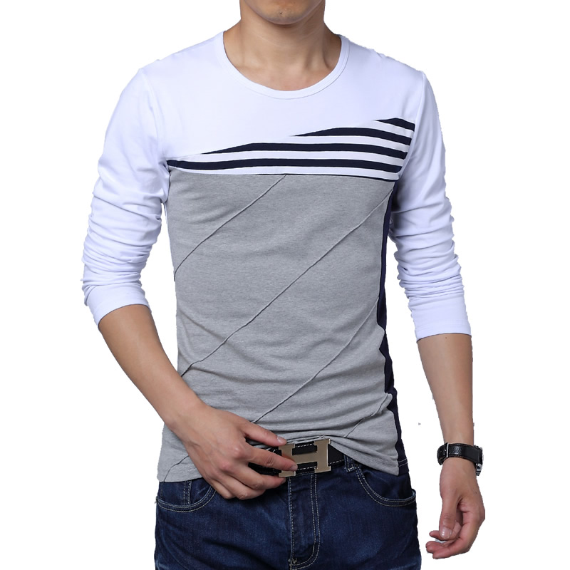 2018 New Patchwork O Neck Casual Striped T Shirt Men Long Sleeve