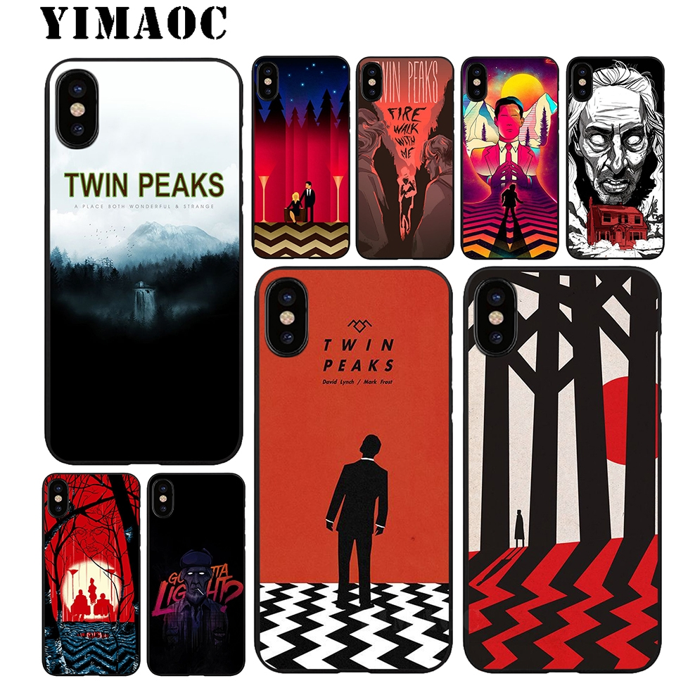 YIMAOC Twin Peaks Soft TPU Black Silicone Case for iPhone X or 10 8 7 6 6S Plus 5 5S SE