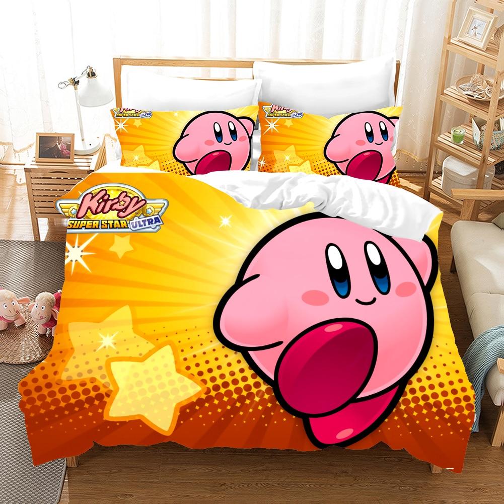 Kirby Cartoon Game 3d Bedding Set Duvet Covers Pillowcases Cute Pink Ball Anime Comforter Bedding Sets Bedclothes Bed Linen
