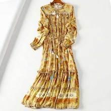 BOHO INSPIRED Wild floral Women Dress V-Neck long Sleeve Summer autumn Dress frill gypsy boho Dress elastic tassel end Vestidos frill tie neck embroidered bardot dress