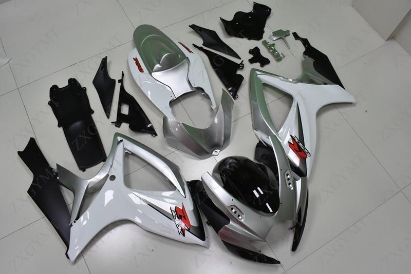Kit carenatura GSX R 600 2006-2007 K6 Argento Bianco Kit corpo vettura GSXR750 07 Carenatura GSX-R600 07Kit carenatura GSX R 600 2006-2007 K6 Argento Bianco Kit corpo vettura GSXR750 07 Carenatura GSX-R600 07