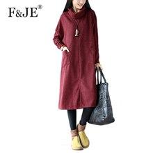 F&JE 2017 Autumn winter Arts style Women long sleeve Turtleneck Loose Dress Pocket Design Batwing Sleeve Casual Long Dress S323