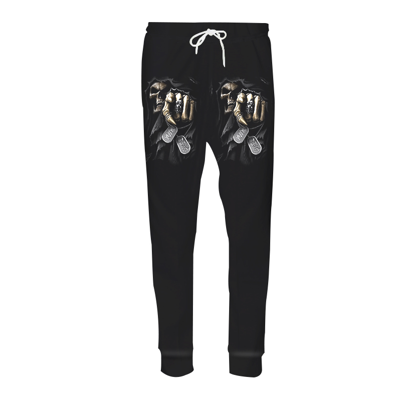 New Casual Harem Pants Men Fitness Trousers Black Skull Punisher Grim Reaper 3D Print Sweat Pantalon Hip Hop Joggers Sweatpants