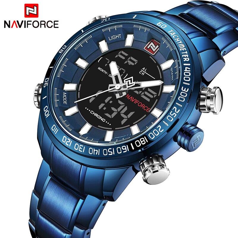 NAVIFORCE Assistir Homens Do Esporte Masculino de Aço Cheio de Quartzo Relógio Digital de Relógio À Prova D' Água Relogio masculino Azul Hora do Relógio Dropshipping