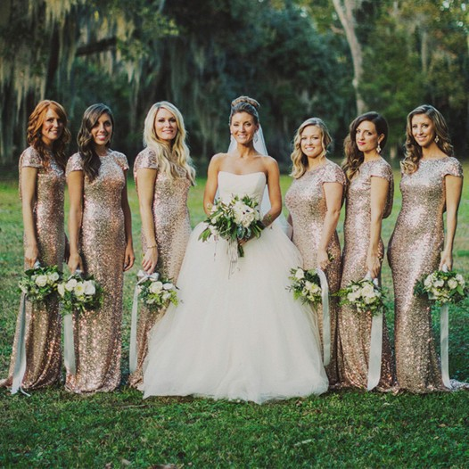 Long Champagne Sequin Bridesmaid Dresses - Wedding Dress Ideas