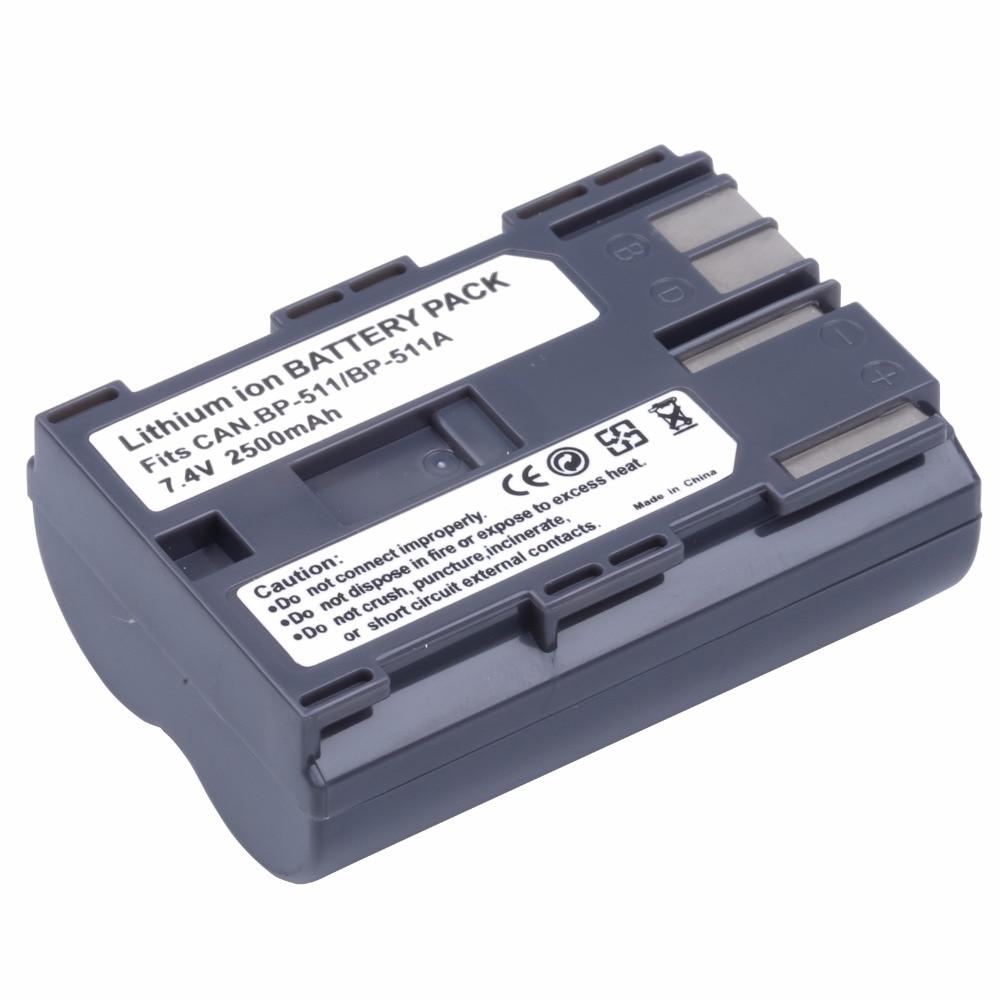 2500mAh BP 511 BP511A BP511 Rechargeable Battery Batteries for Canon MVS 100i 150i 2i 1i ZR20