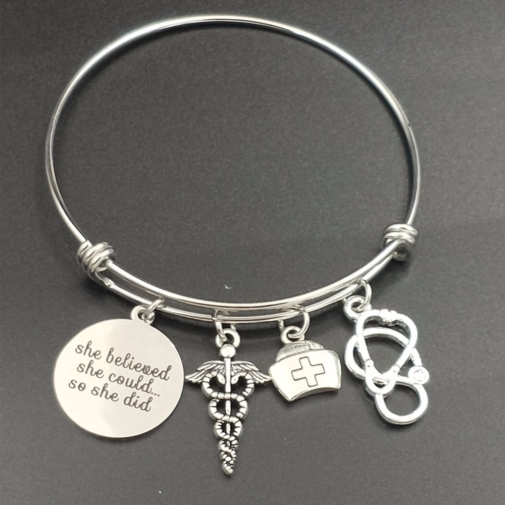 Stainless Steel Expandable Wire Bangle Nurse Graduation Jewelry Gift Idea Caduceus Cap Stethoscope Charms DIY Girls Bracelets