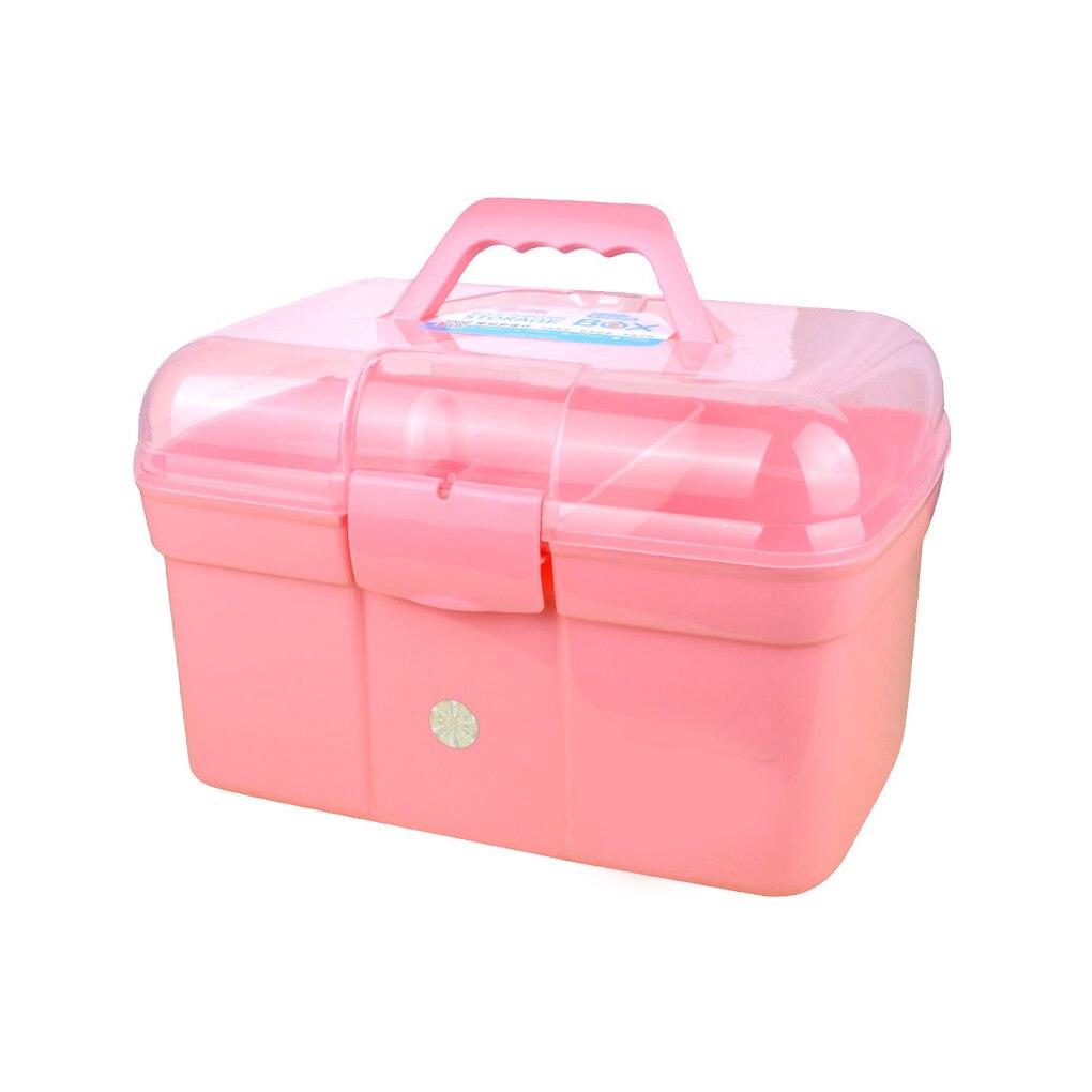Hand-held Desktop Storage Box Plastic Scissors Makeup Organizer Jewelry Nail Polish Pen Container Manicure Tool Case