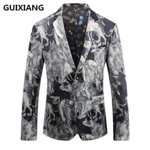 GUIXIANG 2017 autumn Men's single breasted Italian style printed velveteen casual blazer men blazers mens high quality jackets