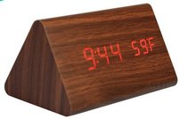 Wholesale Natural Brown Wooden Sound Control Clock Desktop Snooz Color LED Alarm Clock  Acoustic Control Sensing With Thermometer Hot Sale