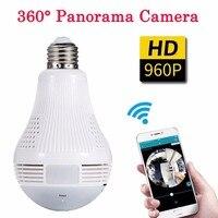 360 градусов Панорама wifi-глазок для двери с монитором IP лампочка наблюдения Cam рекордер CCTV Обнаружение движения ночное видение 960P Full HD