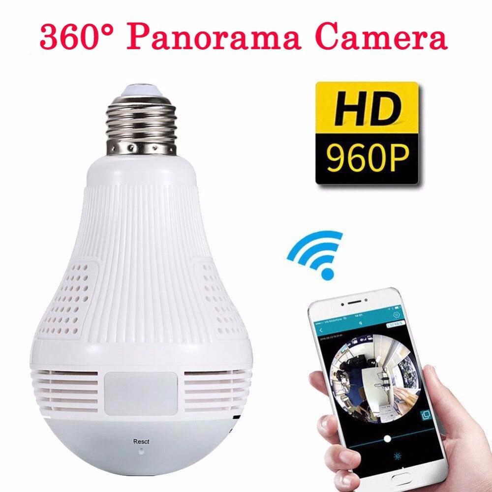 Panorama de 360 Graus Da Câmera de Vídeo IP Wi-fi Luz Lâmpada Cam Vigilância CCTV Gravador de Detecção de Movimento de Visão Noturna 960P Full HD