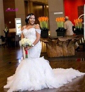 Image 3 - Strapless Beaded Spaghetti Starps Mermaid Wedding Dresses for Bride