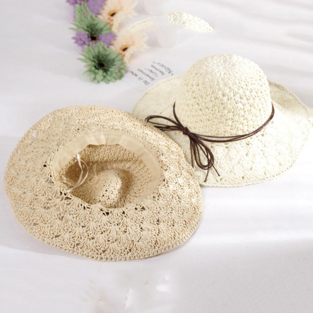 2019 summer sexy women\`s bow grass beach hat striped hood foldable rolled pretty beach hat seaside sports beach hat girl 40J5 (10)