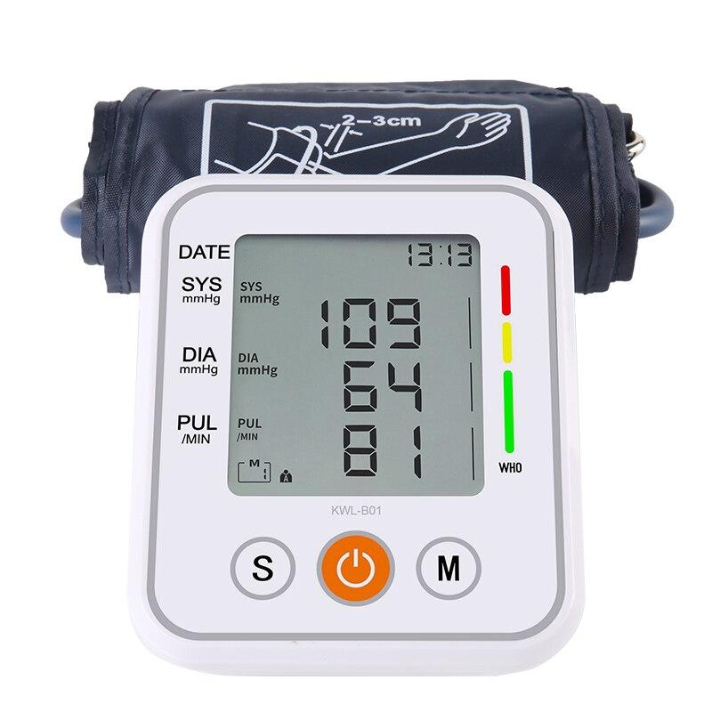 Household Médica Manguito Monitor de Pressão Arterial Braço Superior Esfigmomanômetro Tonômetro Automático Tensiômetro Bp Medidor de Freqüência Cardíaca