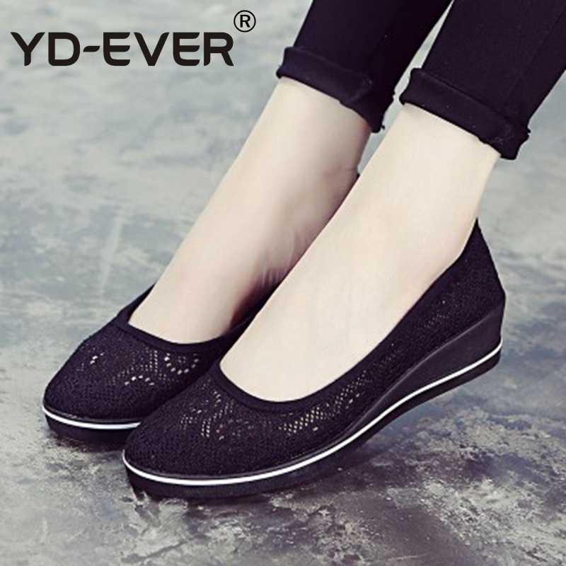 c922cfcf528b ... YD-EVER Canvas nurse shoes Solid lace hollow summer Women Platform Casual  Shoes Women Flat ...
