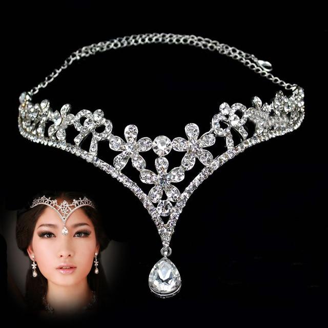 Wedding tiara crown headband Diadema Adorno Tocado Novia Strass coroa The  bride Tiara diademahair crystal necklace crystal bride 37aca93cf17