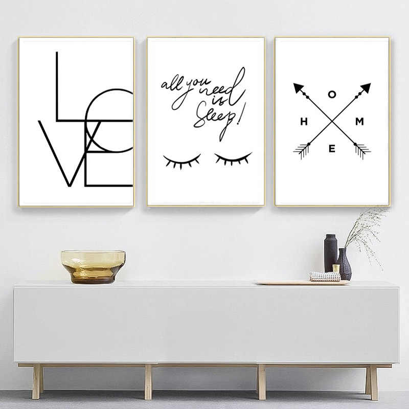 Poster Nordic Eyes Black And White Posters And Prints Love Letter Poster Wall Art Canvas Painting Art Print Pictures Frameless