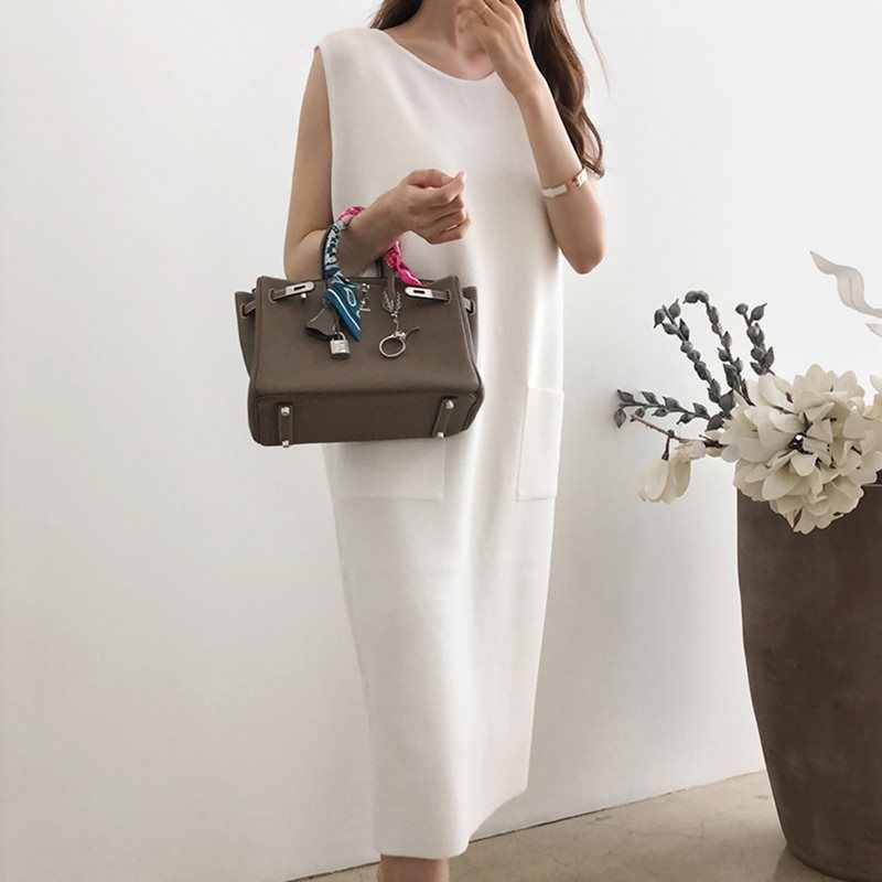 夏日本スタイルのエレガントなシンプルな白ヴィンテージ女性ミディドレスストレートポケット無地 2019 韓国女性のレトロな毎日ドレス