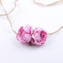 Girls Pink Floral Headbands Newborn Infant Hair Accessories Children Hemp Rope Tie Hair Bands Baby Headwear цены онлайн