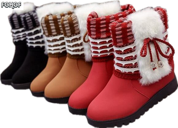 Fashion Winter Boots Women Shoes Woman Snow Boots Lolita Warm Fur Suede Red Girls Boots Studded Ankle Boots Botas Zapatos Mujer