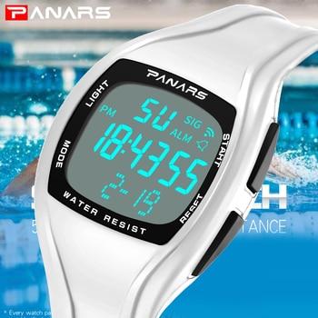 64a24e11d4e4 PANARS los hombres reloj deportivo superior de la marca de lujo de Digital  LED Relojes blanco para hombre Relojes Deportivos Relojes reloj de parada