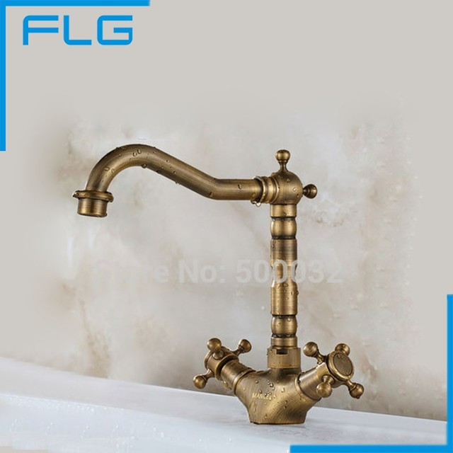 Antique Bronze Two Handles Basin Retro Faucet Classic Copper Single