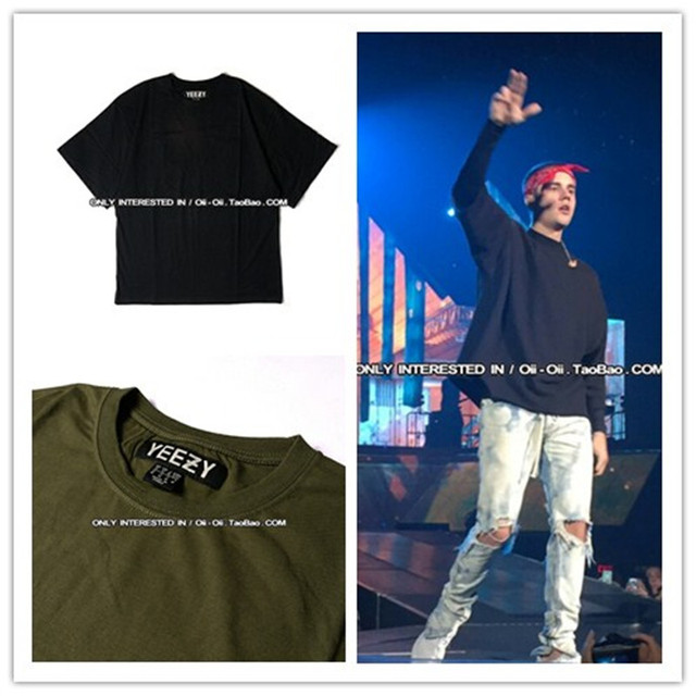 2016 New Kanye West Yeezy Men Oversized Hiphop God of Fear Justin Bieber T shirt Camouflage Summer Fashion Cotton Shirt Casual