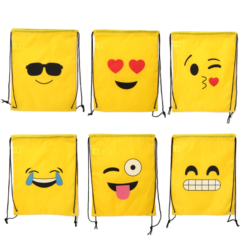 Emoji Drawstring Backpack Bags 12 Pack Cute Assorted Emoticon Party Favors drawstring bags