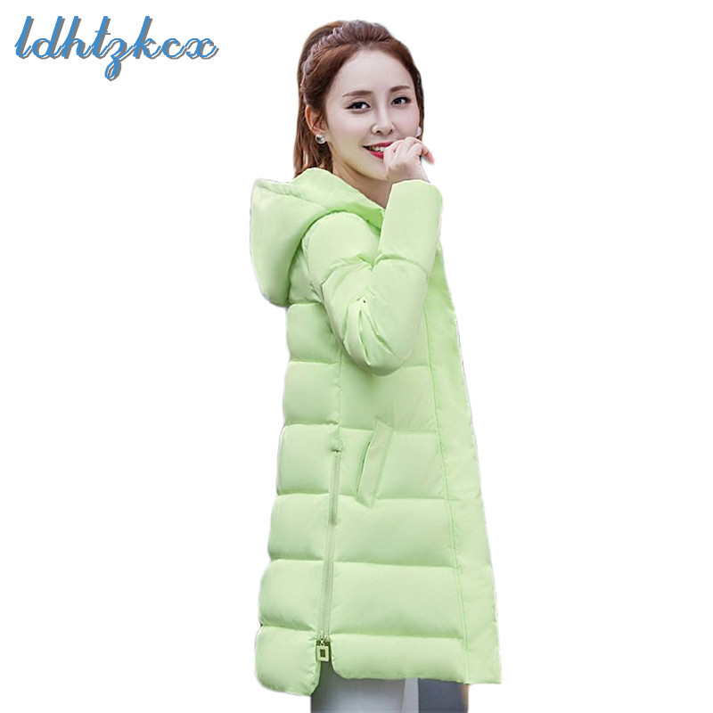 Winter Coat Plus Size Down Jacket 2019 Spring New Korean Office Lady Long Slim Thick Warmth Zipper Pockets Hooded   Parkas   CX627