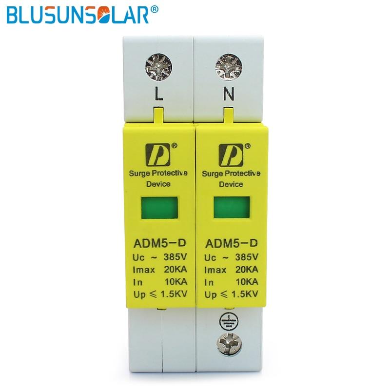10 pcs lot AC Din Rail 2P L N 10 20KA 110V 220V 385V Surge Protection