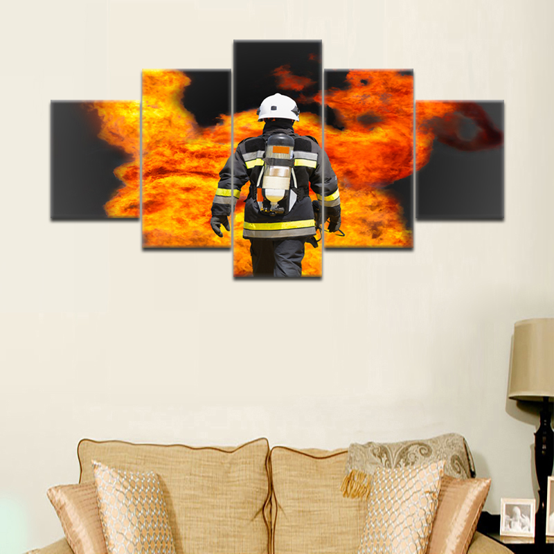 Modern Contemporary Canvas Painting Fire Rescue Wall Art Firefighter Fireman Fighting Prints on Canvas Artwork Posters No Framed in Painting Calligraphy from Home Garden