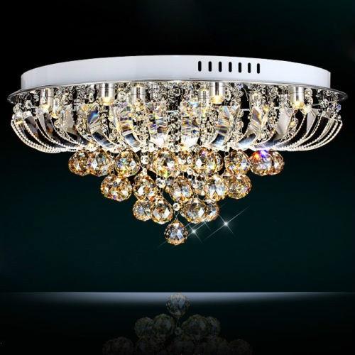 LED Flush Mount Hanging Golden Teak Crystal Balls Chandelier Ceil Pendent Light 90-260V