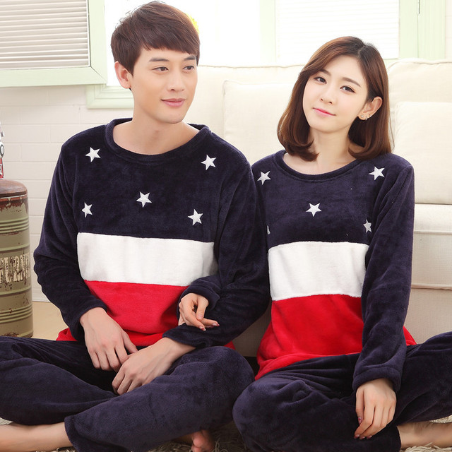 2016 Men Women Flannel Pajamas Couple Pyjama Suits Winter Garment Sleepwear Nightclothes Thick Stripe Star Christmas Gift