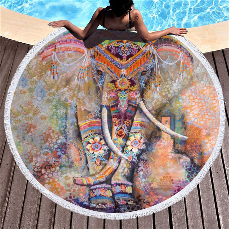 Microfiber 3d Boho Elephant Printed Beach Towel For Adult Yoga Mats Tassel Blankets Large Round Towel 150cm Tapestry Home Decor Power Source