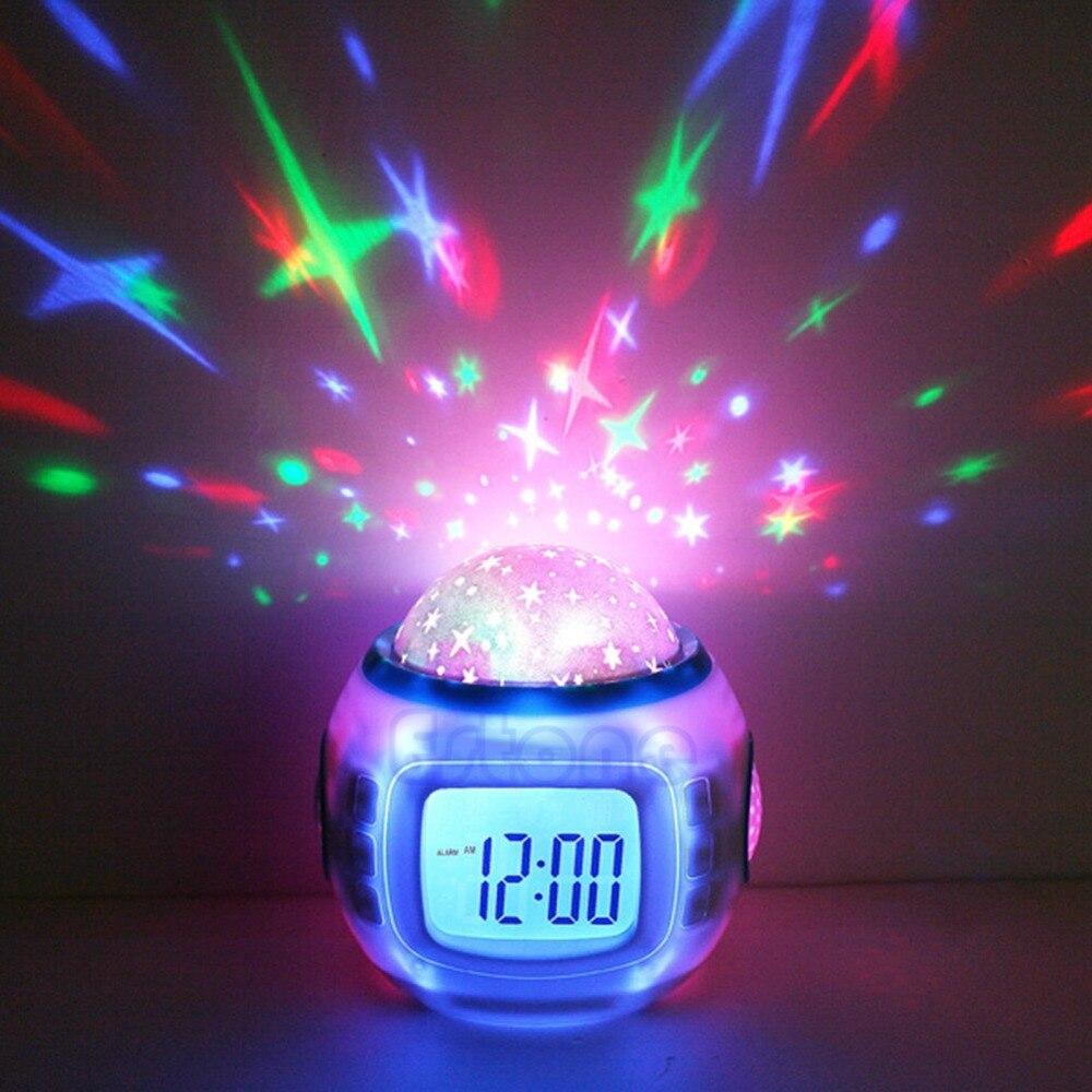 Ciel Étoiles Enfants Bébé Chambre Night Light Lampe De Projecteur Chambre Alarme de Musique Horloge